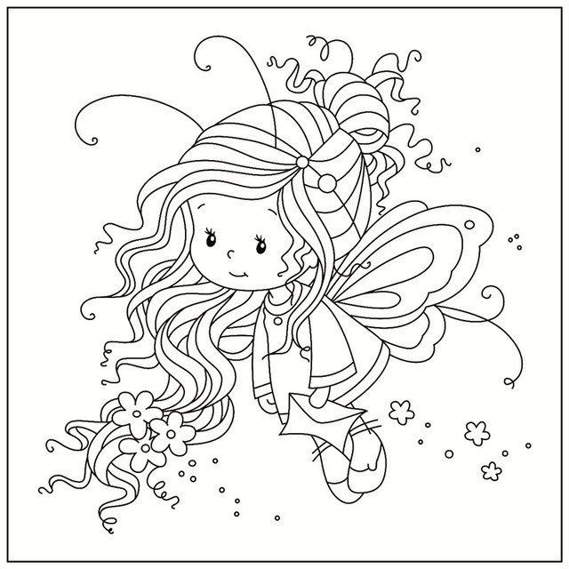 Us 2 0 Cartoon Magnolia Madchen Transparent Briefmarken Metall Schneiden Stirbt Schablone Fur Diy Scrapbooking Pa Whimsy Stamps Fairy Coloring Coloring Pages