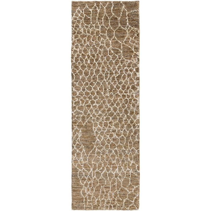 """Edgy modernity defines the aesthetic of the Jill Rosenwald Bjorn Scales rug by Surya. Inspired by the skins of aquatic creatures, this eclectic floor covering features a white web-like design over a solidly hued background, lending interiors a playfully chic layer. The high-pile jute construction makes for a durable yet cozy accessory. Shown in: Khaki; 100% jute; Hand knotted; Rug pad recommended; 2'W x 3'L; 3'3""""W x 5'3""""L; 2'6""""W x 8'L; 5'W x 8'L..."""