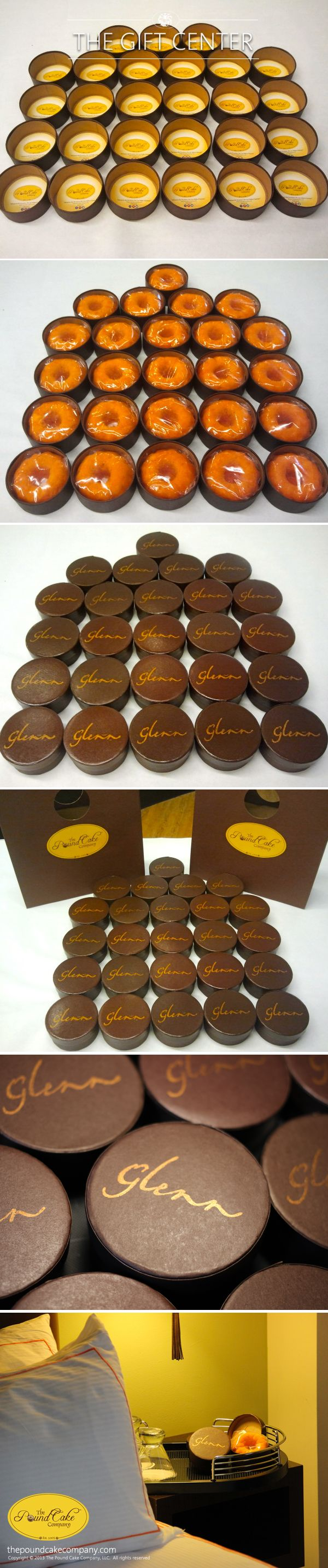 The Glenn Hotel downtown Atlanta GA selects The Pound Cake Company's custom Phavors as the hotel's exclusive amenity. Featuring their signature colors - chocolate brown and burnt orange, we created a custom package with hand stamped logo and our orange rum pound cake.