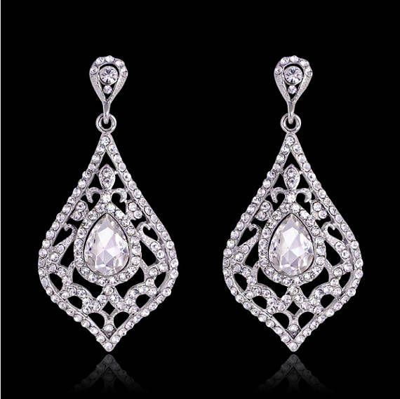 Check Out Elegant Leaf Chandelier Drop Earrings Crystal Rhinestones Silver Bridal Wedding Gauges Plugs 6g 4g 2g 0g 4mm 5mm 6mm 8mm On Plugparlour