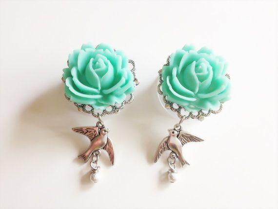 """3/4"""" Dangle Plugs Choose Rose Color Gauges 5/8, 13/16 (20mm), 11/16 (18mm), 7/8 Plugs Sparrow Gauged Earrings"""