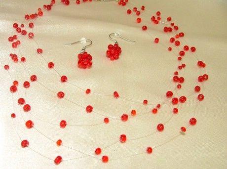 Šperky z korálků - Fotoalbum - Motanice z korálků - Červená motanice z rokajlovch korálků
