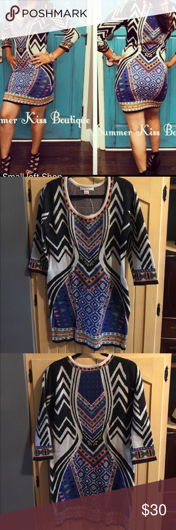 ⚜️Bandage Knit Sweater Multi Color Dress Bandage Knit Sweater Multi Color Dress. NWT from my previously owned SummerKiss Boutique. Fits true to size. Model wearing original dress. Scoop neck and 3/4 sleeve. Would fit a size 6-8 woman's dress. Flying Tomato Dresses Midi