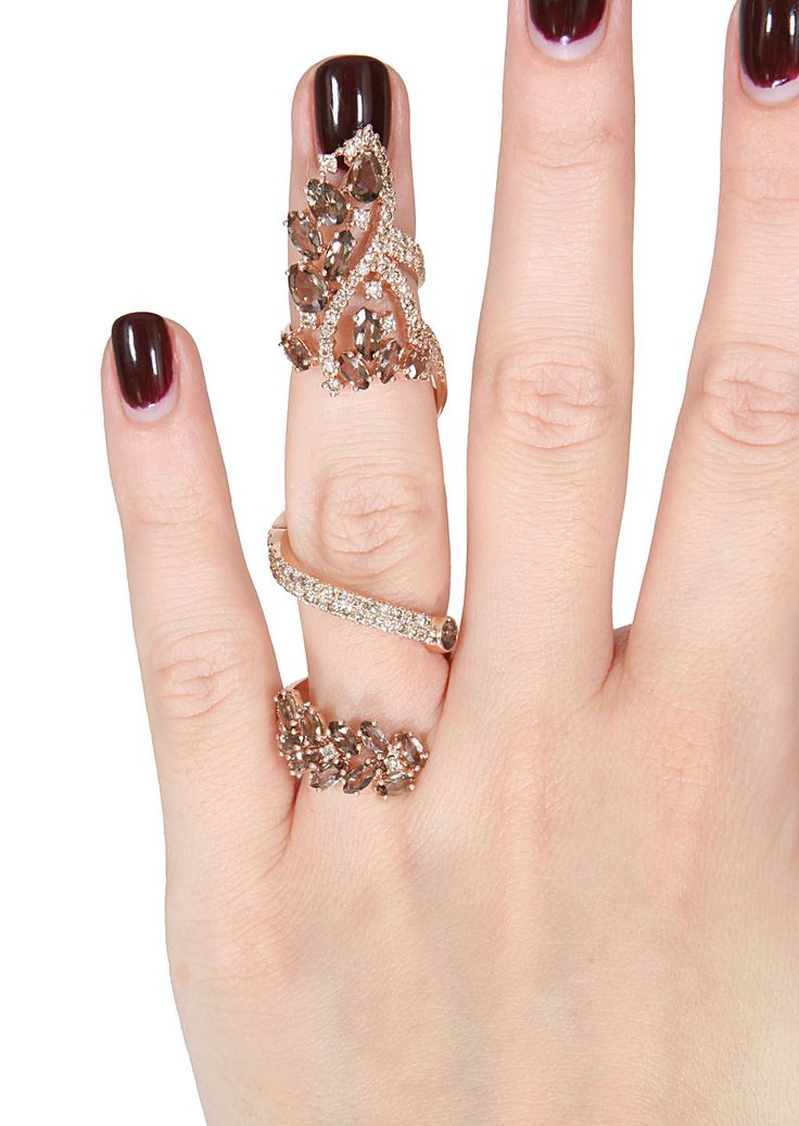 Elise dray Pink Gold, Brown Diamonds And Smoky Quartz Articulated Jaïpur Ring in Pink | Lyst