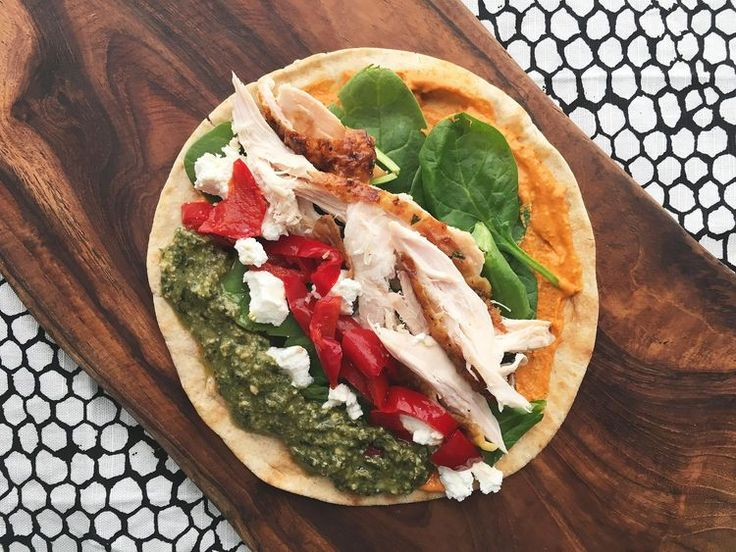 Roasted Chicken Wrap with Spinach, Goat Cheese, Peppadews   Provencal Mustard
