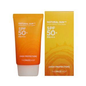 THE FACE SHOP Natural Sun AQ Super Perfect Sun Cream SPF50+ PA+++ - The face shop