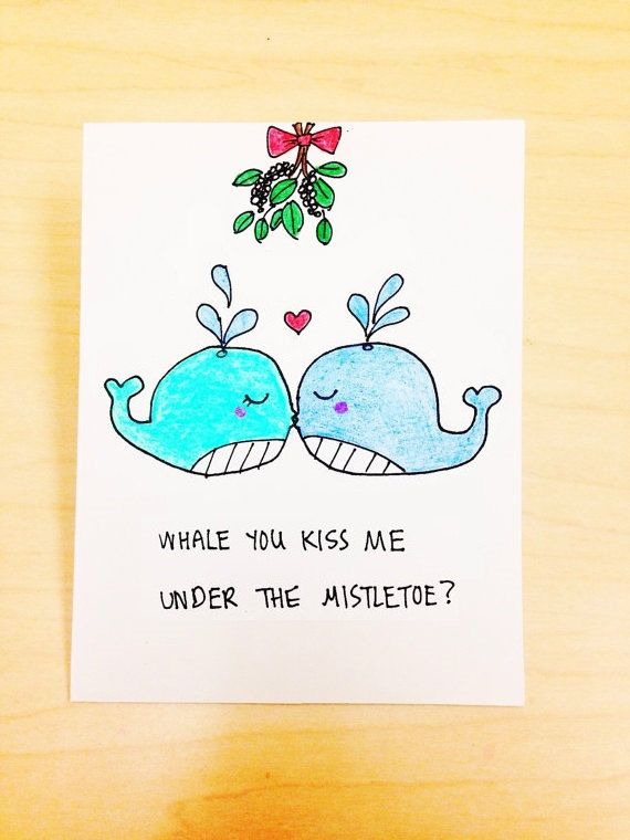 Funny Christmas Card for Boyfriend, Kiss me under the mistletoe, girlfriend Christmas card, christmas pun card, whale cartoon, Xmas card by LoveNCreativity