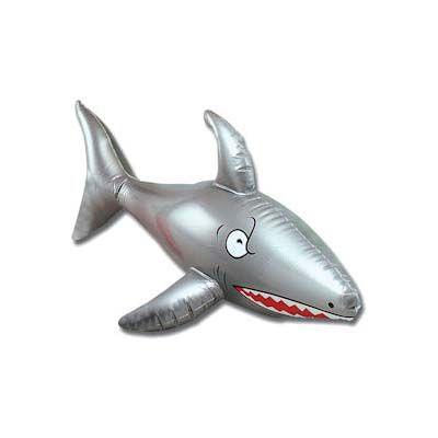 Inflatable silver shark ideal for a beach party or hawaiian theme.