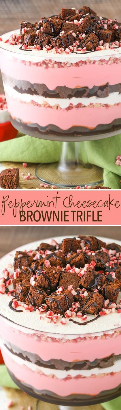 Peppermint Cheesecake Brownie Trifle - layers of peppermint cheesecake, peppermint chips, brownie and whipped cream! Great easy dessert for the holidays!
