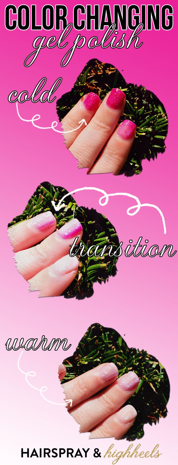 DIY Hard Nails Color Changing Gel Polish in Pink Frost