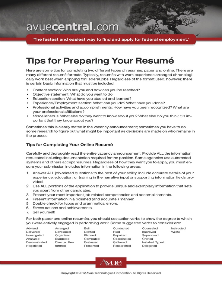 completing a resumes