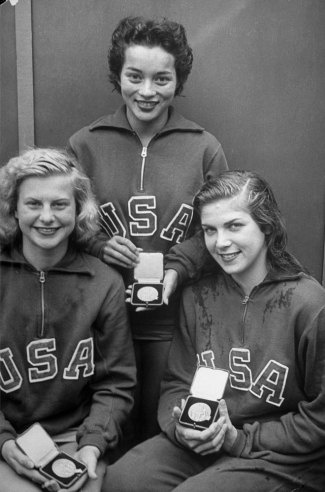 """1948 London Olympics: Photos From LIFE Magazine: """"American springboard dive winners Zoe Ann Olsen (left), Vicki Manolo Draves (center) and Patty Elsener display their medals."""""""