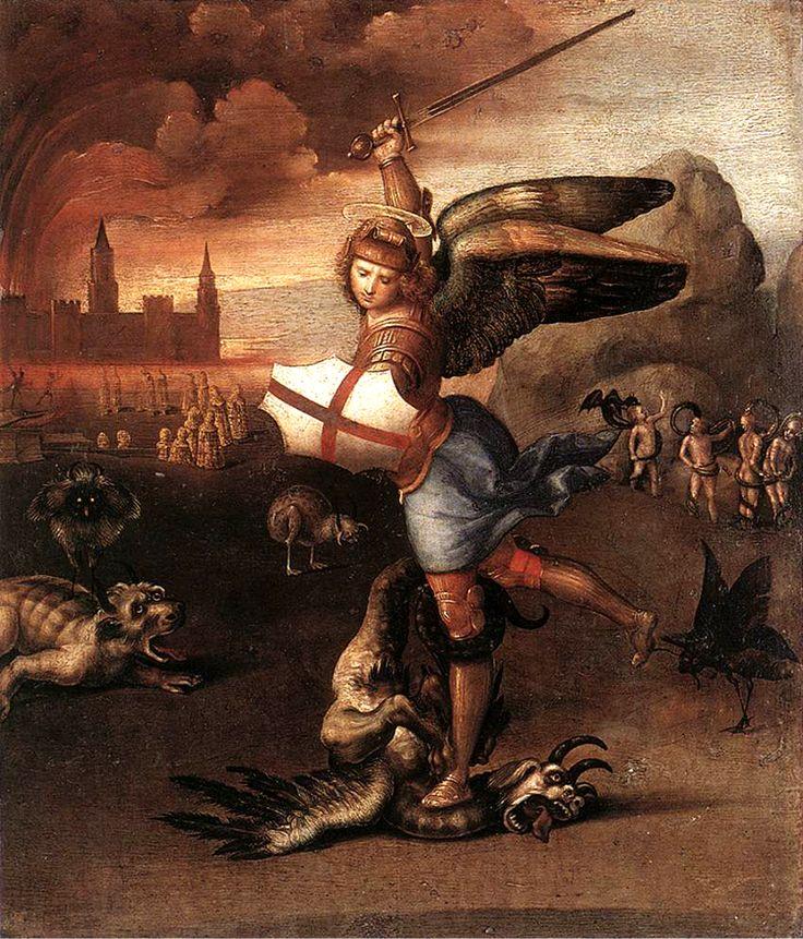 """""""San Michele e il drago"""" 1505  Dimension: 31 x 27 cm  Musée du Louvre, Parigi"""