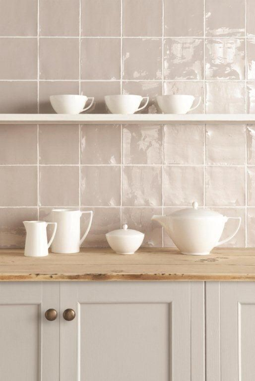 Hibiscus tiles from the Metropolitan range which feature a unique lustrous finish. Handmade ceramic tiles which are part of the Residence collection by The Winchester Tile Company. winchestertiles.com