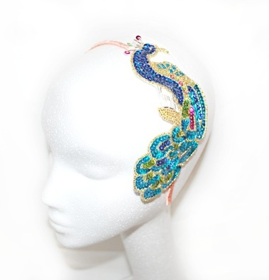Peacock Sequin headpiece by Inez Gill - SHOP INEZGill.com (Inez Gill is an independent accessories company specializing in bridal & couture headpieces. Featured on Daily Candy, design for mankind etc.