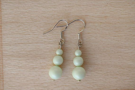 Green Pearl Earrings  Pastel Earrings  Swarovski Pearl Drop