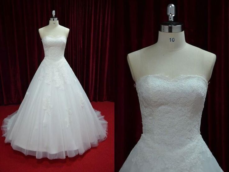 Strapless Embroidery Lace Wedding Dress Corset Back Bridal Ball Gown  JY13030