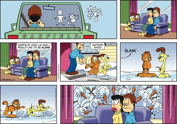 Garfield Cartoon for Jan/27/2013.........ha ha ha...just can't get rid of Garfield!