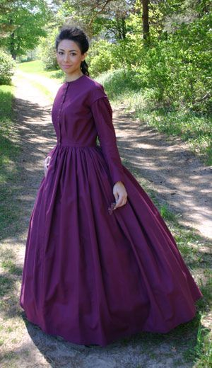 "The Civil War (1861 – 1865)In general, the correct ""profile"" for the period featured a very full floor-length skirt (it would be shorter for very young ladies), and a closely-fitted bodice. The sleeves were often very full, and might have a bell shape or be very full at the sleeve head. The shoulder seam was typically dropped slightly down from the shoulder, and the waist was often just a bit above what we would consider a natural waistline."