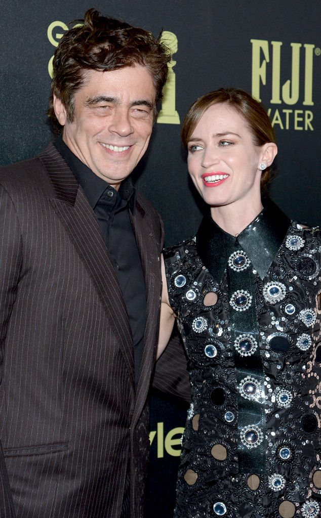 Benicio Del Toro & Emily Blunt from HFPA & InStyle's Miss Golden Globes 2016 Party | E! Online