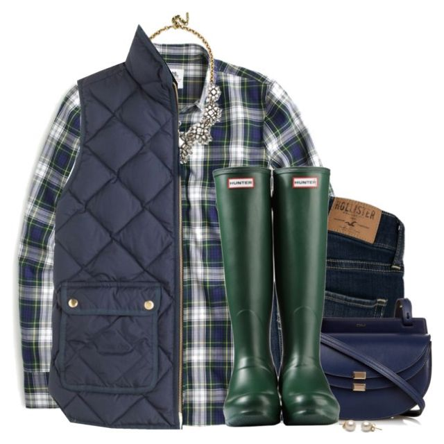 J.crew flannel shirt & vest with green Hunter boots