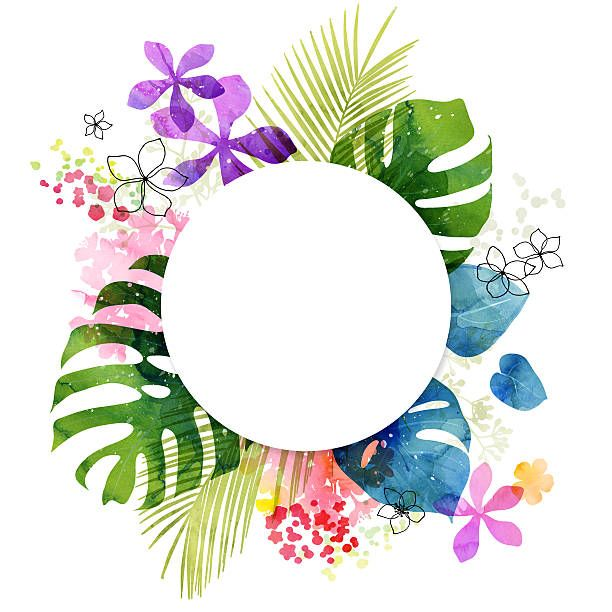 Watercolor Flower And Leaves Tropical Background With Circle Copy