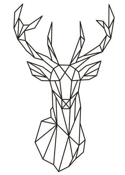 Geometric Deer Head Wall Sticker Geometry Animal Series Decals 3D Vinyl Wall Art Custom Home Decor Size 51×86 cm