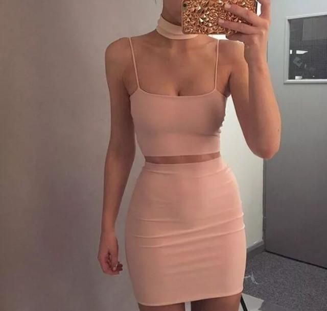 BANDAGE CHOKER SKIRT SET