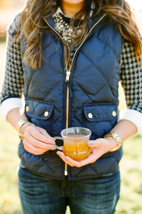 Navy Fluffy Vest With Cozy Blouse