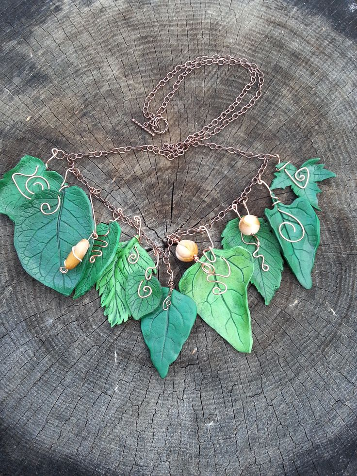 My first attempt at a leaf necklace. Not quite what I wanted but turned out okay.