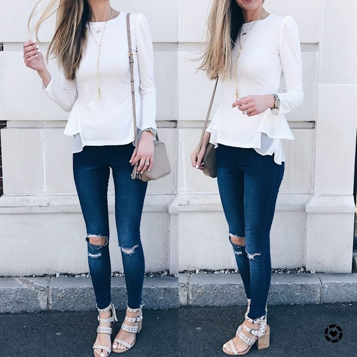 spring outfit ideas: white peplum top with jeggings