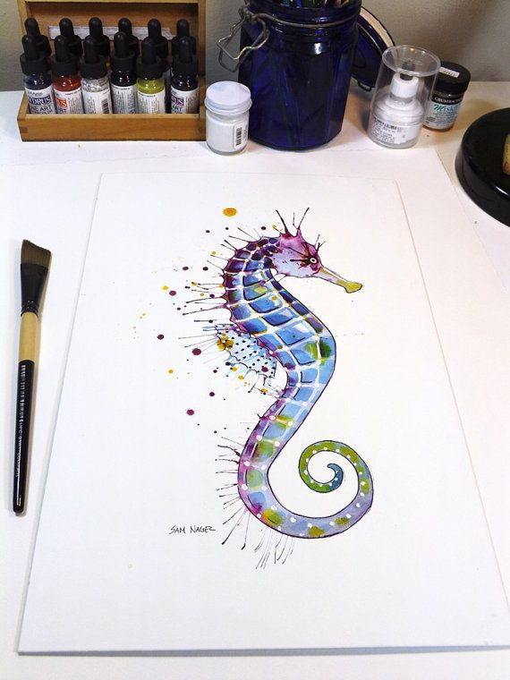 Seahorse: Purple  Original watercolor painting by SamNagel on Etsy