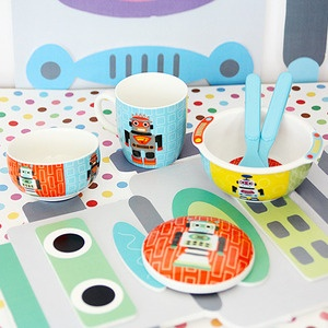For the little man in your life! Ceramic Robot 4-Piece Set from French Bull Korea!