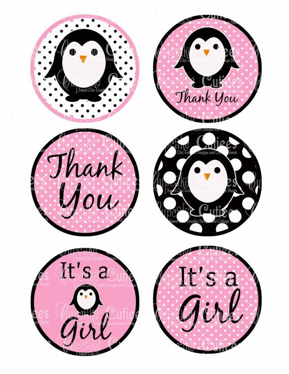 Baby shower?  Etsy listing at https://www.etsy.com/listing/122044342/penguin-waddle-baby-shower-pink-bag-tags