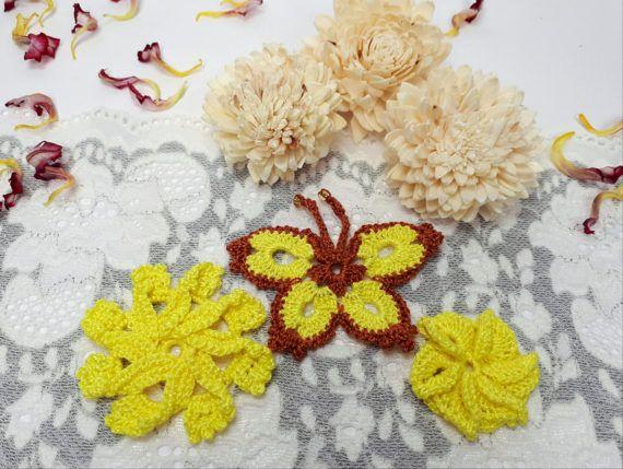 3 yellow crochet embellishments crochet flowers by Rocreanique on Etsy