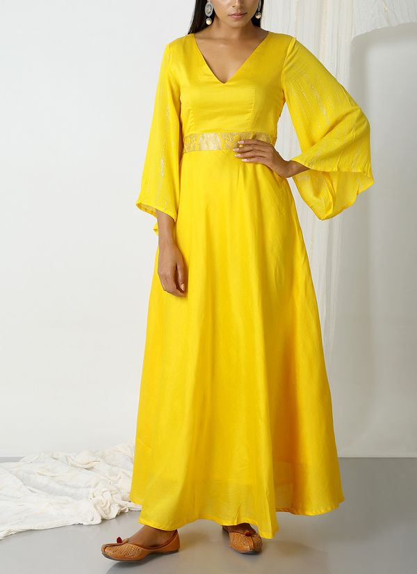 3f15de5481 trueBrowns | Yellow Brocade Bell Sleeve Dress | Shop Dresses at  strandofsilk.com