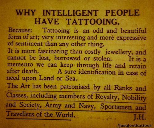 """Why intelligent people have tattooing/ I have only had a handful of people say anything bad about my tattoos & to be completely honest, there option didn't phase me one second. I only need to impress & please two people. God & myself :) Now, please tell me I am not """"intelligent"""" about to graduate with two degrees."""