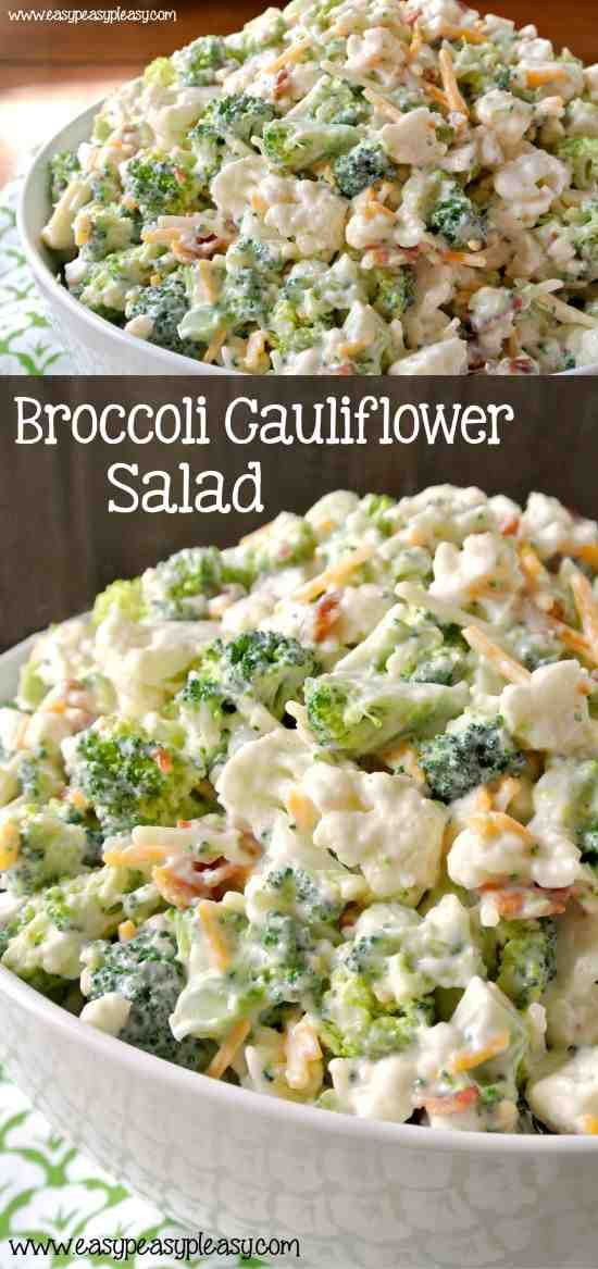Deliciously Sweet Broccoli Cauliflower Salad – bacon, broccoli, cauliflower, cheese, healthy, recipes