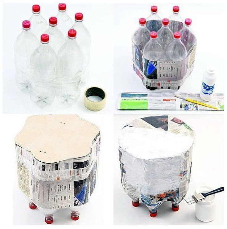 sidetable from 2 liter bottles. a footstool from water bottles? Add marbles for weight?