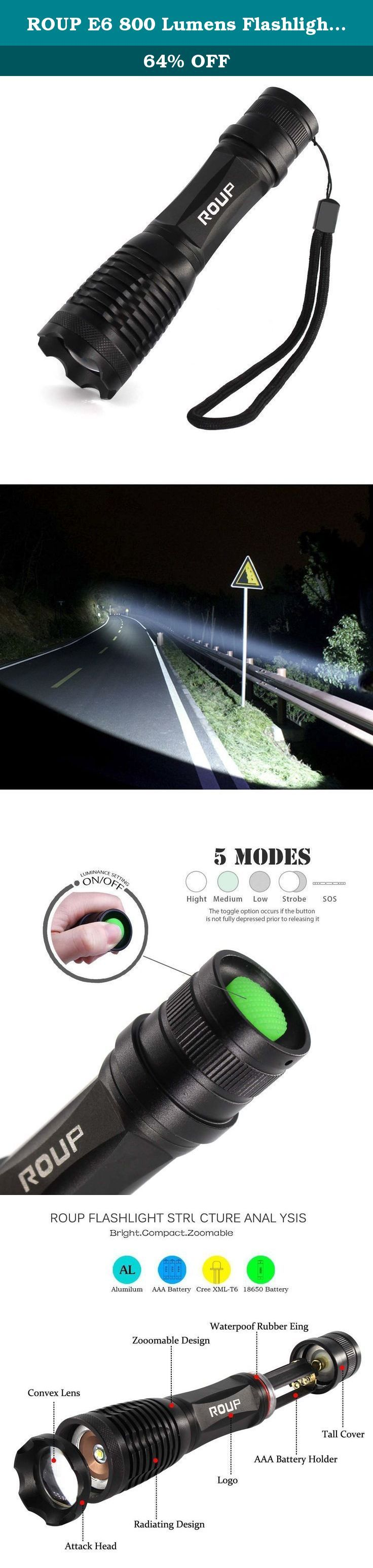 ROUP E6 800 Lumens Flashlight, Tactical Flashlight, CREE LED Flashlight, Handheld Flashlight, Zoomable, 5 Light Modes, Water Resistant, Adjustable Focus Torch with 18650 Battery and Charger. Product Description: 1. Made of high quality 6061T aluminum alloy, it's sturdy and durable 2. Lamp base: CREE XM-L T6 LED bulb, high power LED bulb, no need to consider replacing the cap for the whole life 3. Water resistant, but don't put it into water 4. 5 Mode: high/medium/low/strobe/SOS 5. Powered...