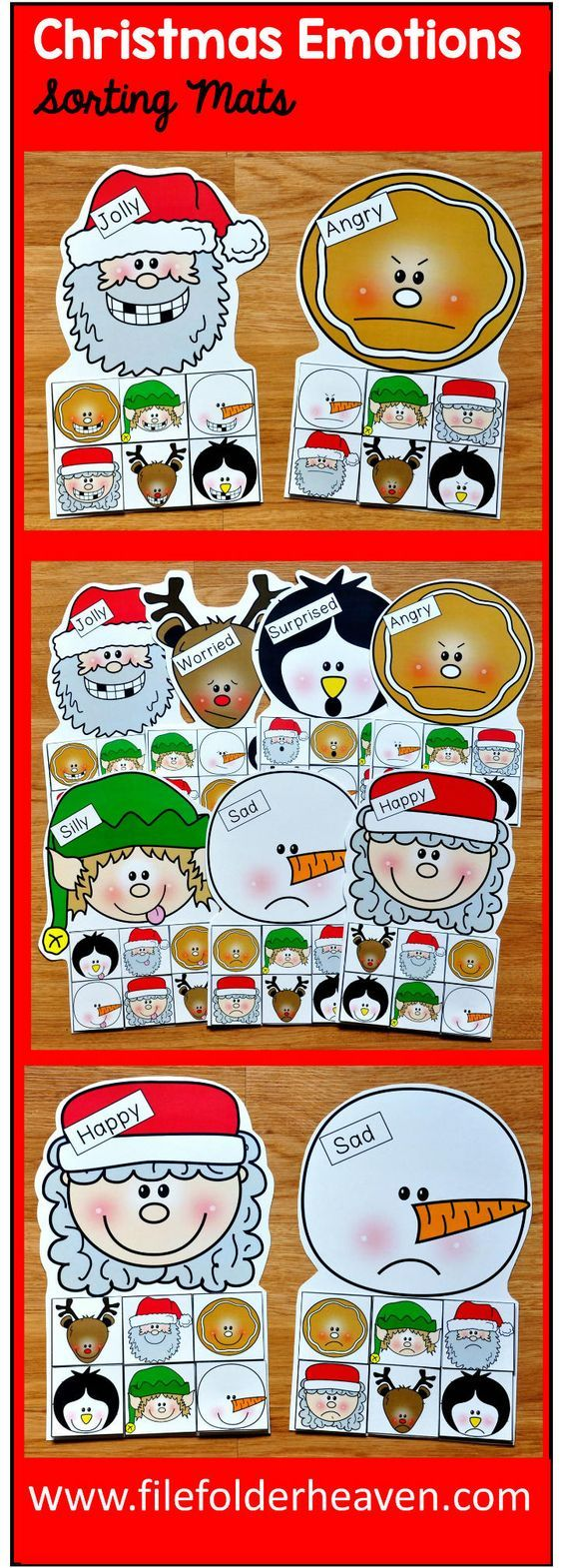 These Christmas Emotions Sorting Activities offer a fun and seasonal way for students to work on identifying emotions. This set includes 7 unique mats: Santa, Mrs. Clause, Elf, Ginger, Snowman, Reindeer and Penguin. At an independent workstation, center or language group, students complete the following sorting and classification activities.  Sorting Happy Sorting Sad Sorting Angry Sorting Silly Sorting Jolly Sorting Worried Sorting Surprised