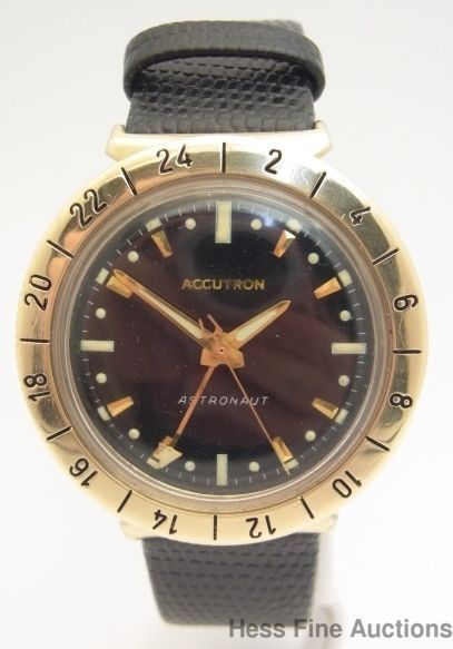 Vintage bulova accutron astronaut large 14k bezel mens wrist watch accutron watches for Astronaut watches