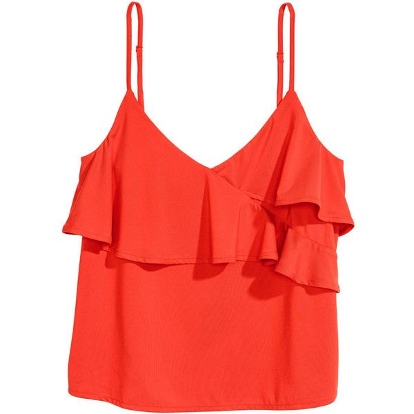 Ruffled Camisole Top $9.99 ($9.99) ❤ liked on Polyvore featuring tops, frilly tops, ruffle cami top, red jersey, camisole tops and red camisole top