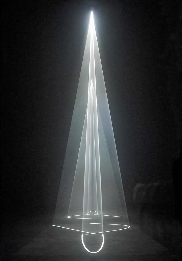 """""""Between You and I"""" - light installation by Anthony McCall."""