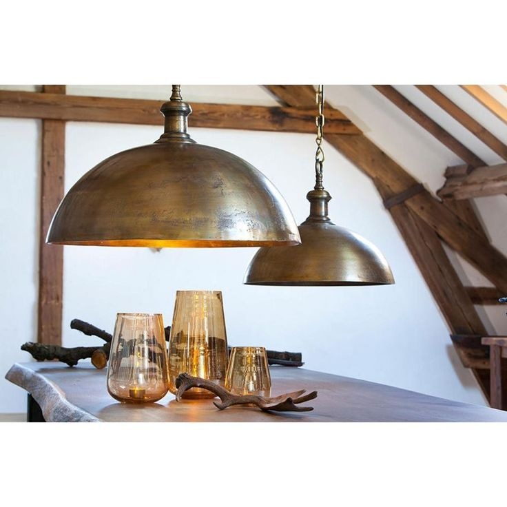 Industrial style dome pendant light in brass finish for Brass kitchen light fixtures