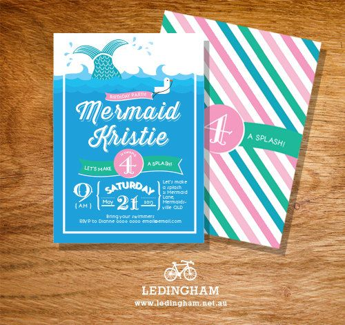 Mermaid Invitations Pool Party Birthday (Personalised DIY Printables)