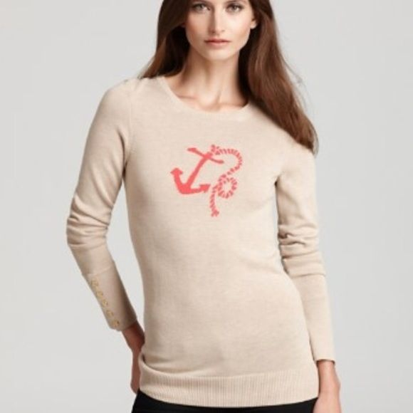 Lily Pulitzer anchor sweater Beige Lilly Pulitzer anchor sweater. Minor pulling in the underarms, hardly noticeable. Very cute and no longer sold! Lilly Pulitzer Sweaters Crew & Scoop Necks