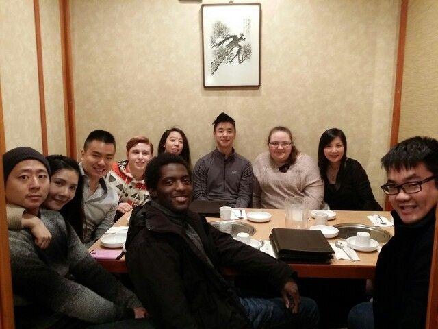 Korean Restaurant Night with some of My Language Connect Language School.  Happy dinner! 행복한 저녁식사!  행복한 (haeng-bo-kan) happy 저녁식사 (jeo-nyeok-sik-sa) having dinner  www.mylanguageconnect.com