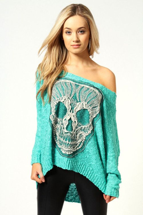 Turquoise Skull Sweater