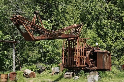 old logging machinery | old rusty logging machinery